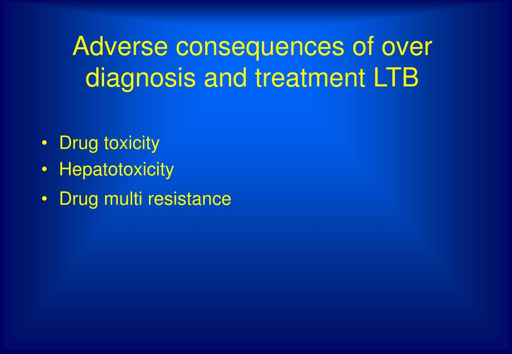 Adverse consequences of over diagnosis and treatment LTB
