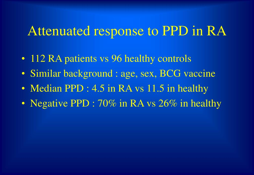 Attenuated response to PPD in RA