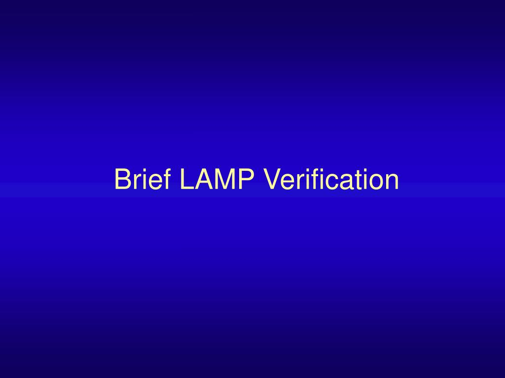 Brief LAMP Verification