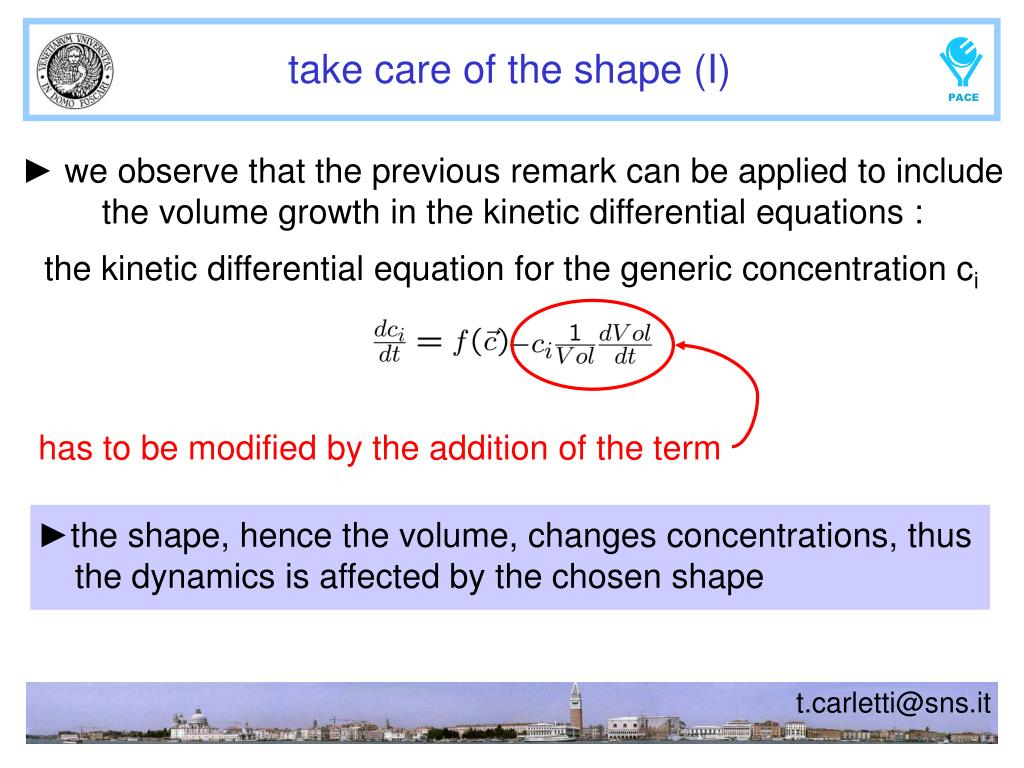 the kinetic differential equation for the generic concentration c
