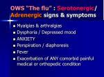 ows the flu serotonergic adrenergic signs symptoms