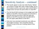 sensitivity analysis continued