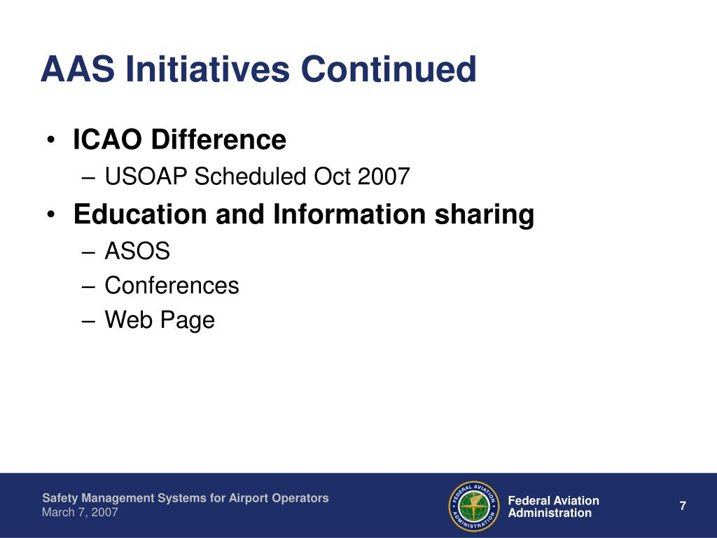 AAS Initiatives Continued