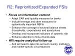 r2 reprioritized expanded fsis