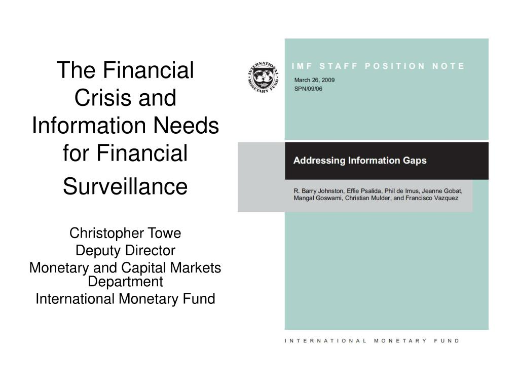 the financial crisis and information needs for financial surveillance