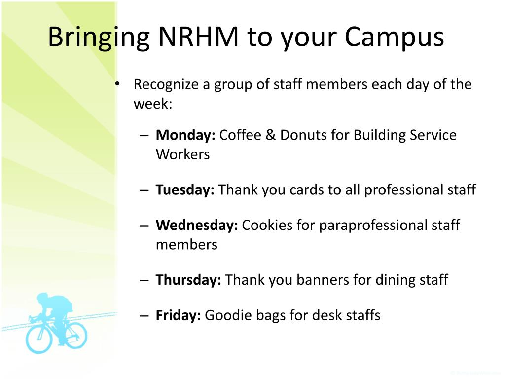 Bringing NRHM to your Campus