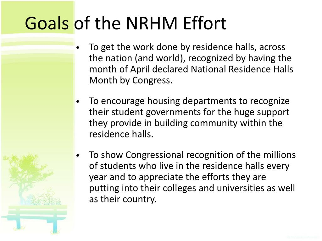 Goals of the NRHM Effort