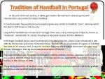 tradition of handball in portugal