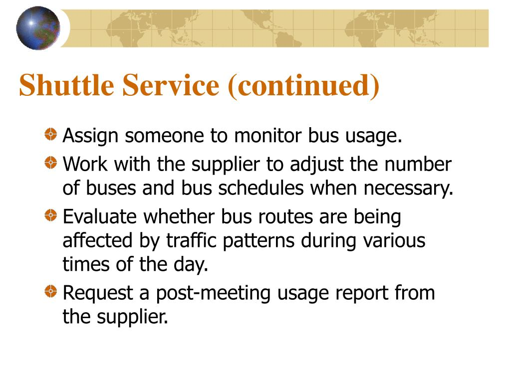 Shuttle Service (continued)