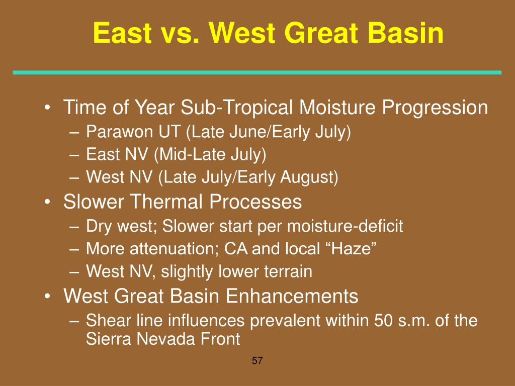 East vs. West Great Basin