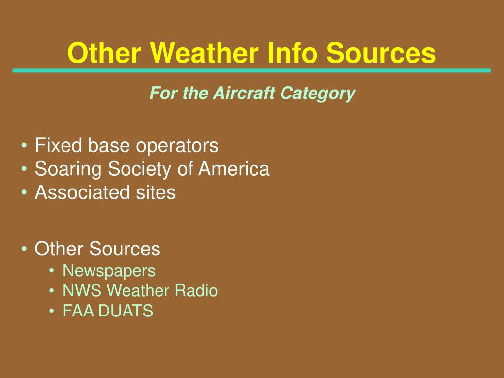 Other Weather Info Sources