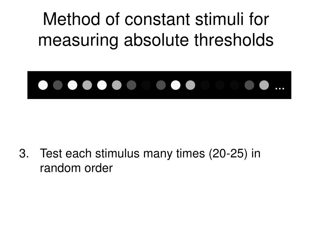 method of constant stimuli Answers will vary typically participants rarely report the line without wing as from psy 240 at university of toronto  what is the method of constant stimuli.
