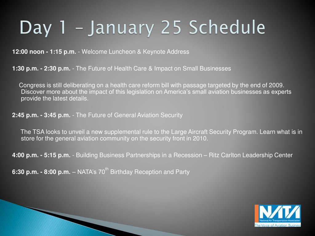 Day 1 – January 25 Schedule