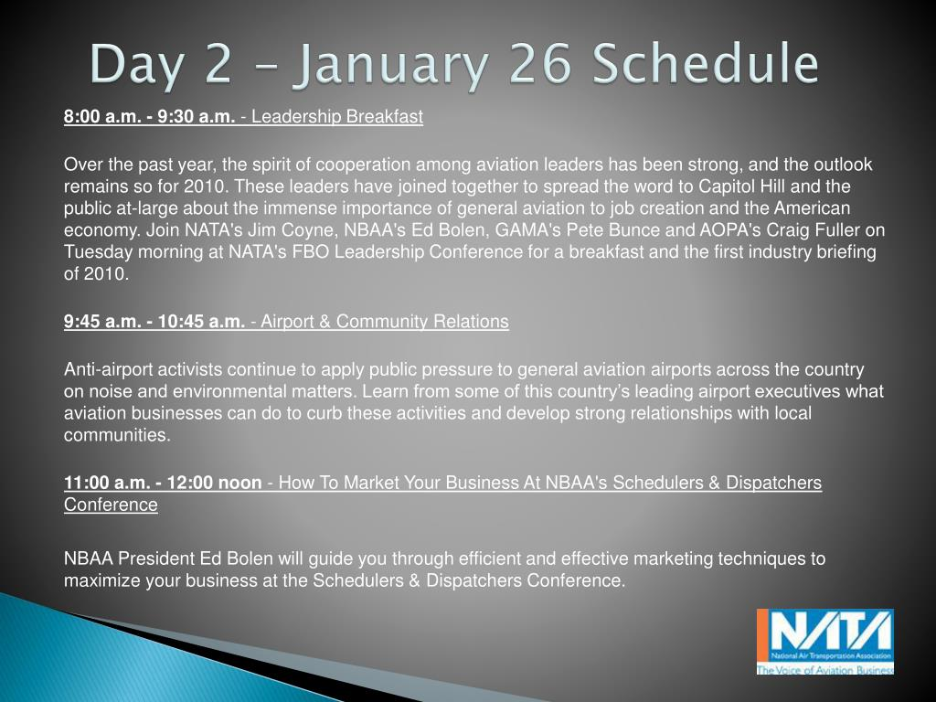 Day 2 – January 26 Schedule