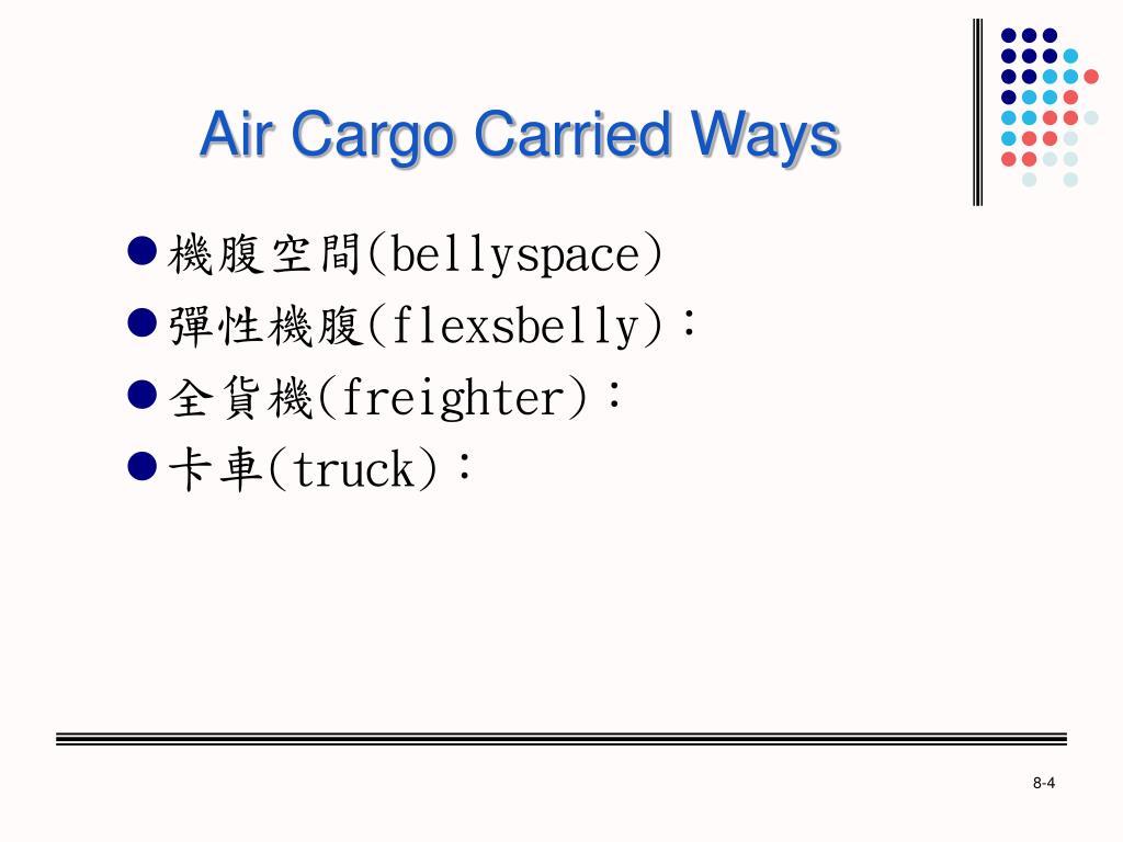Air Cargo Carried Ways