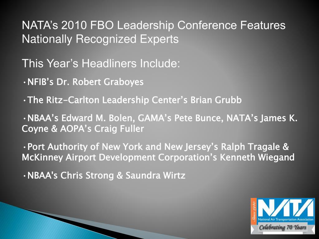 NATA's 2010 FBO Leadership Conference Features Nationally Recognized Experts