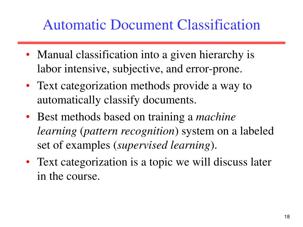 Automatic Document Classification
