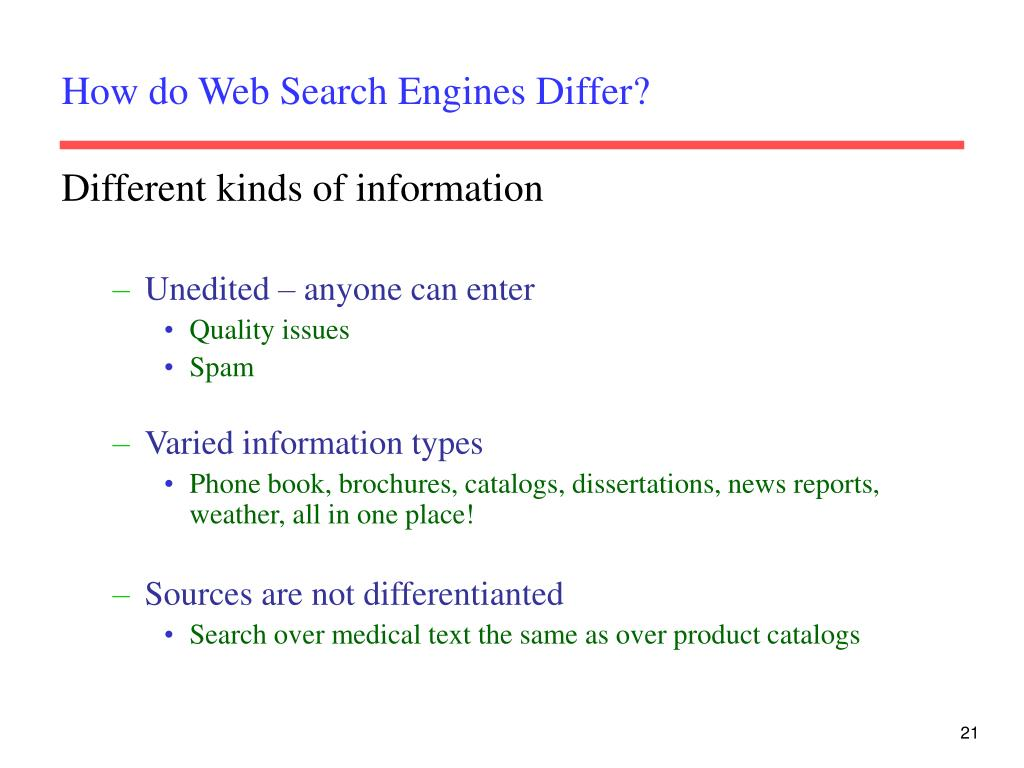 How do Web Search Engines Differ?