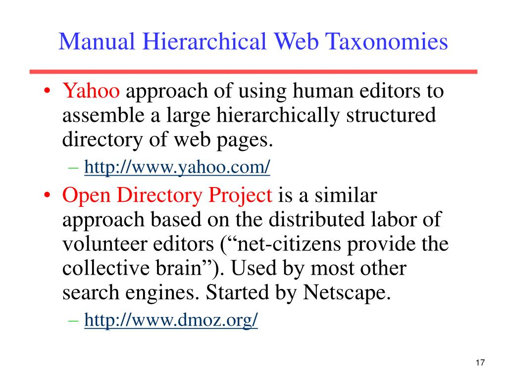 Manual Hierarchical Web Taxonomies