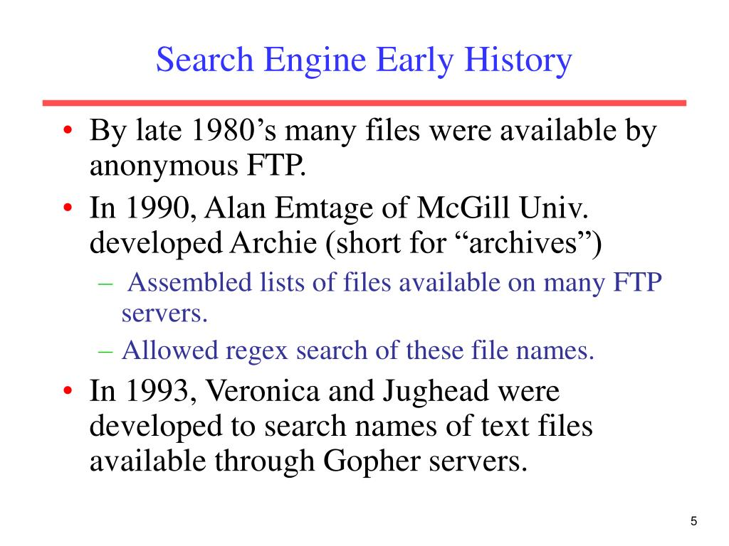 Search Engine Early History