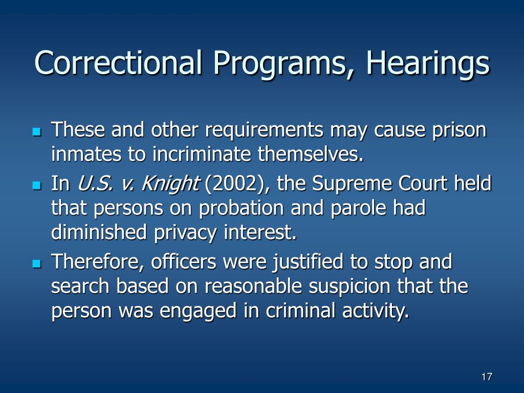 Correctional Programs, Hearings