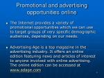 promotional and advertising opportunities online