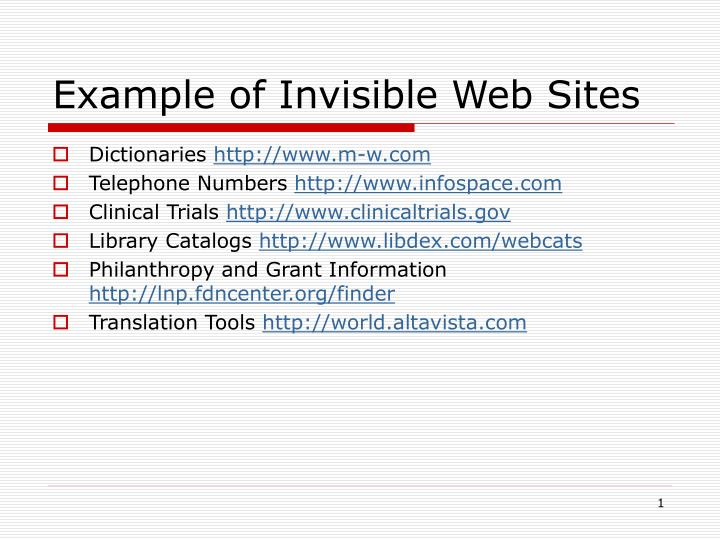 Example of invisible web sites