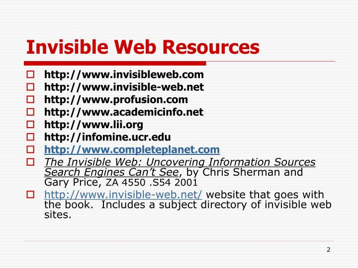 Invisible web resources