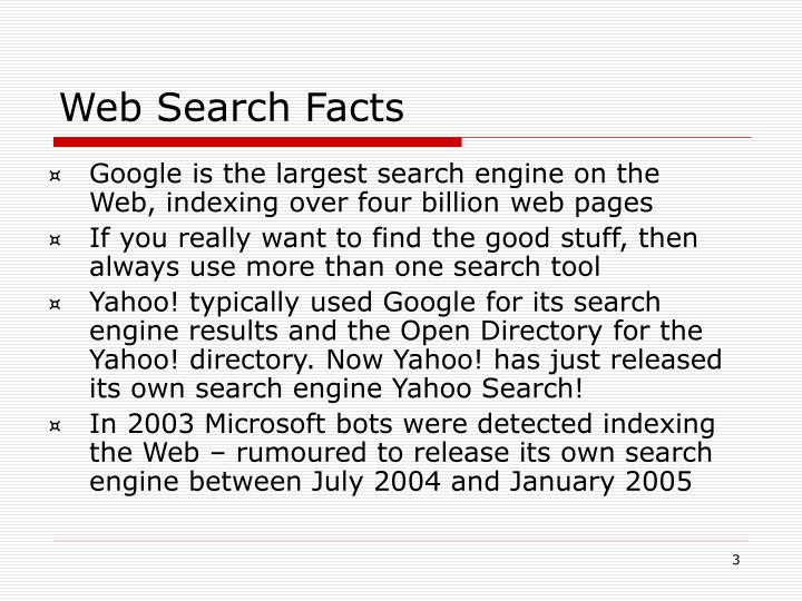 Web search facts