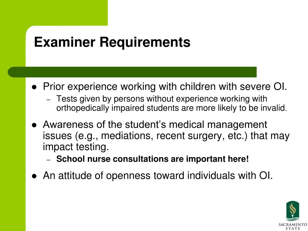 Examiner Requirements