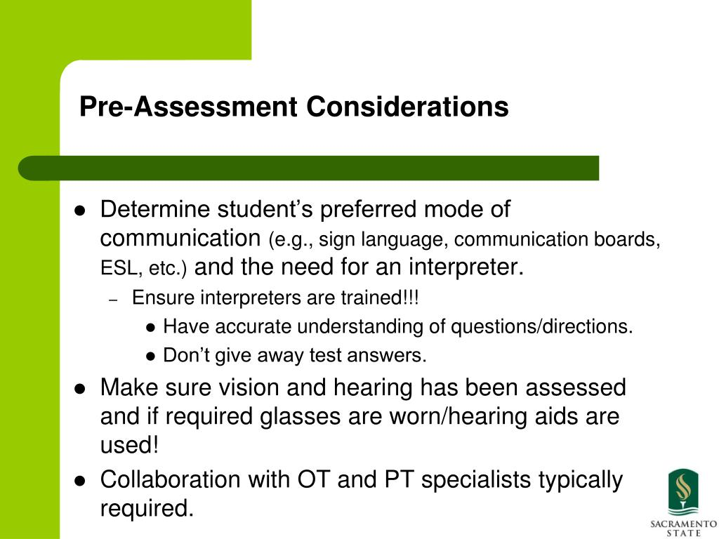 Pre-Assessment Considerations
