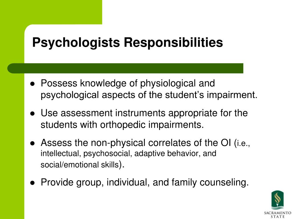 Psychologists Responsibilities