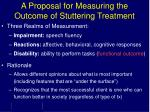 a proposal for measuring the outcome of stuttering treatment