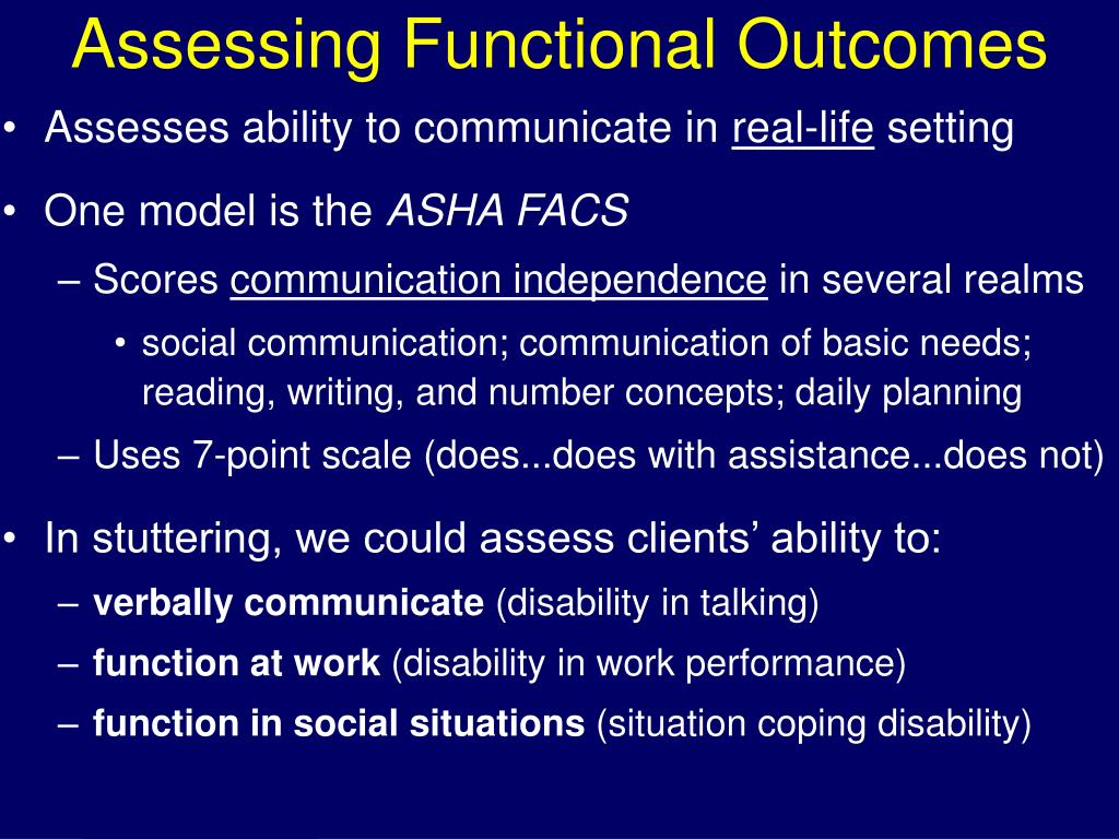 Assessing Functional Outcomes