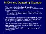 icidh and stuttering example