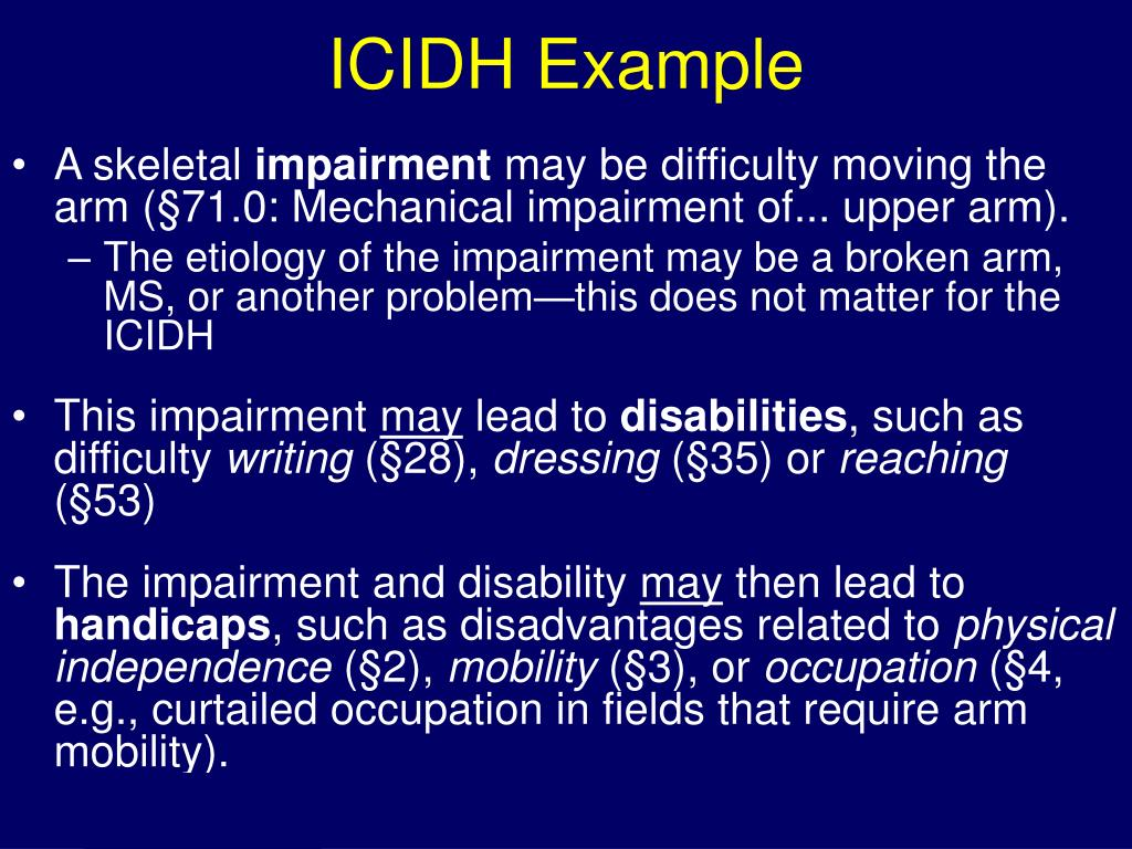 ICIDH Example