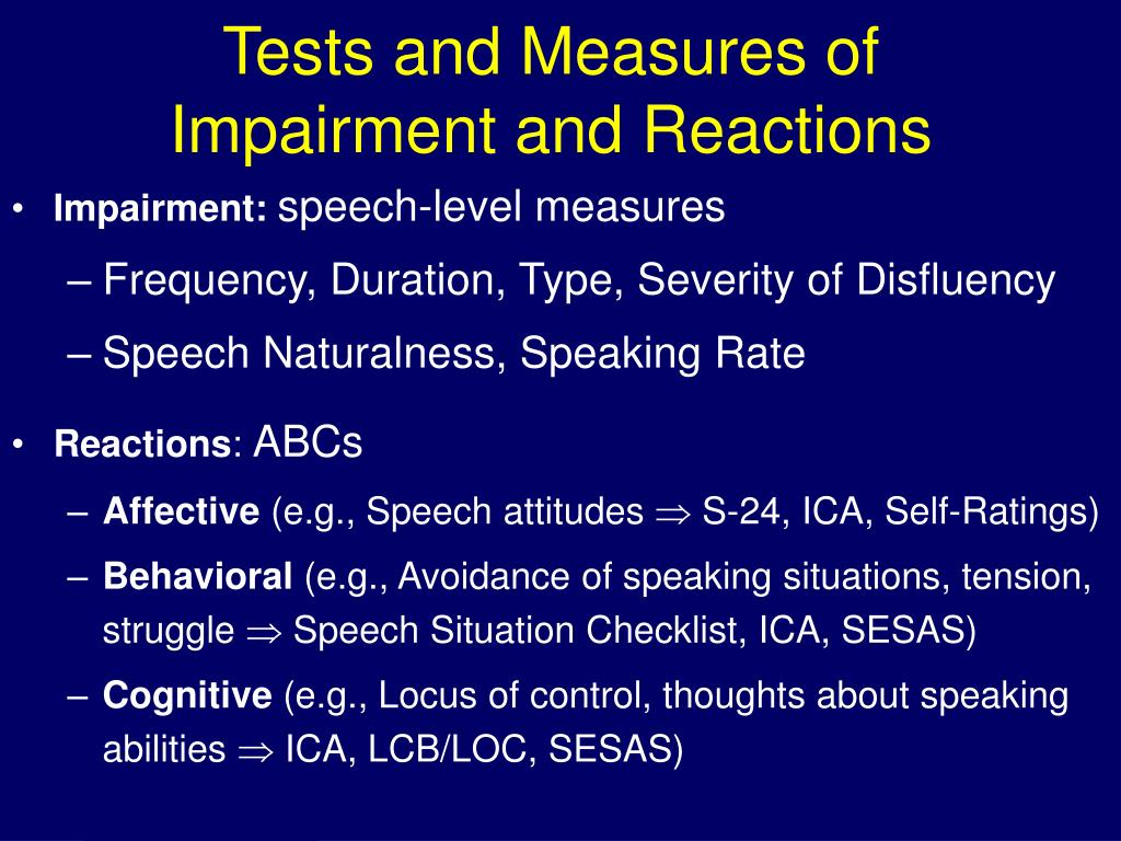 Tests and Measures of