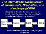 the international classification of impairments disabilities and handicaps icidh