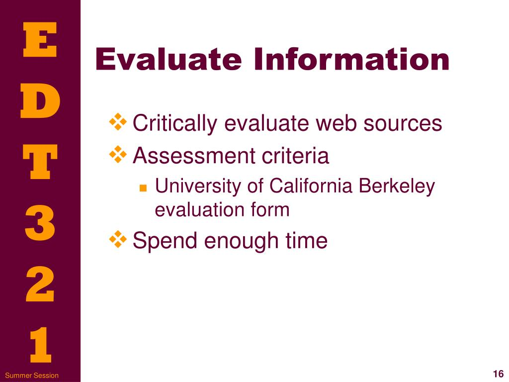 Evaluate Information