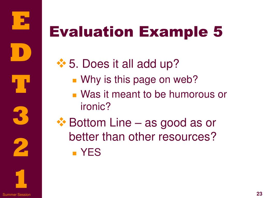 Evaluation Example 5