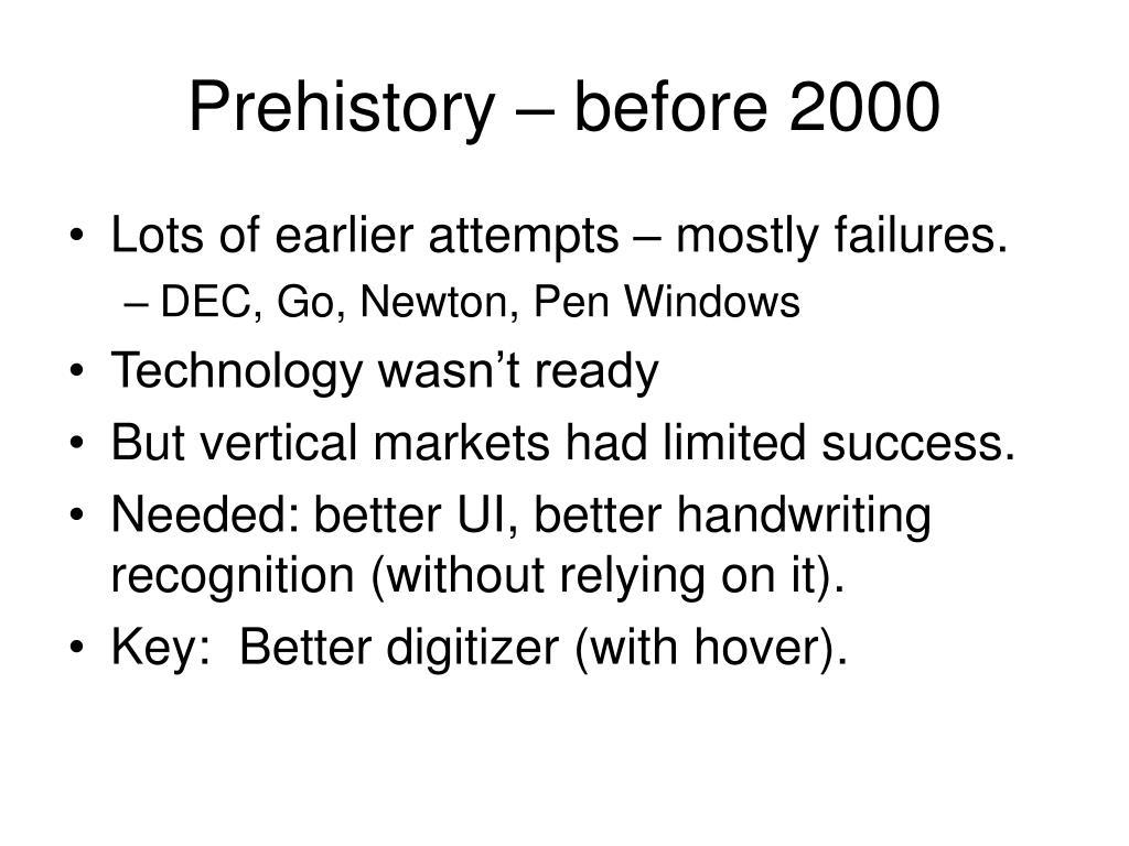 Prehistory – before 2000