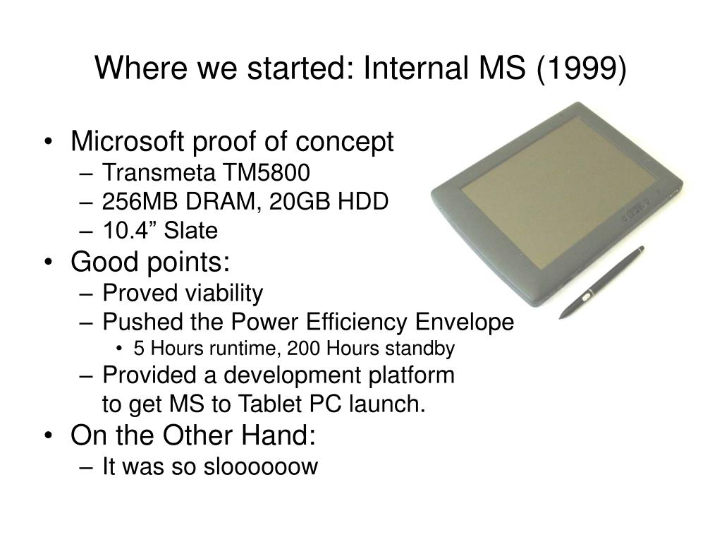 Where we started: Internal MS (1999)