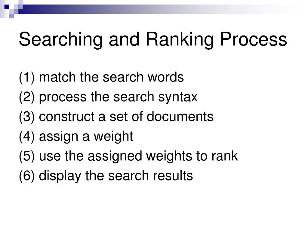 Searching and Ranking Process