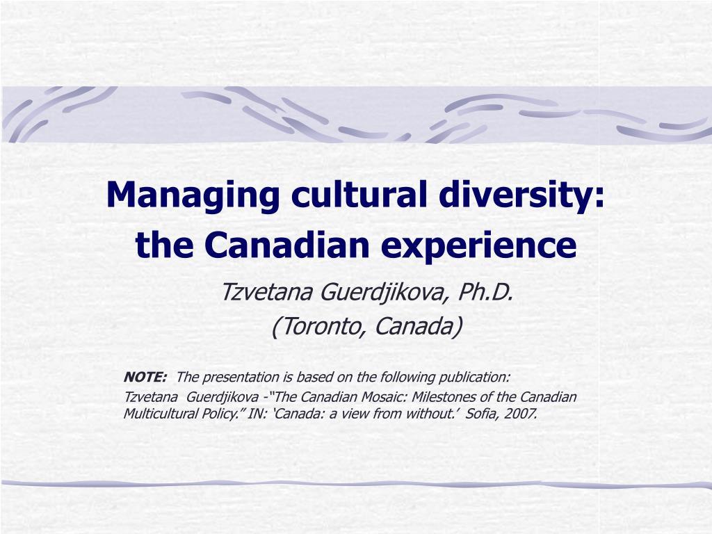 Managing cultural diversity: