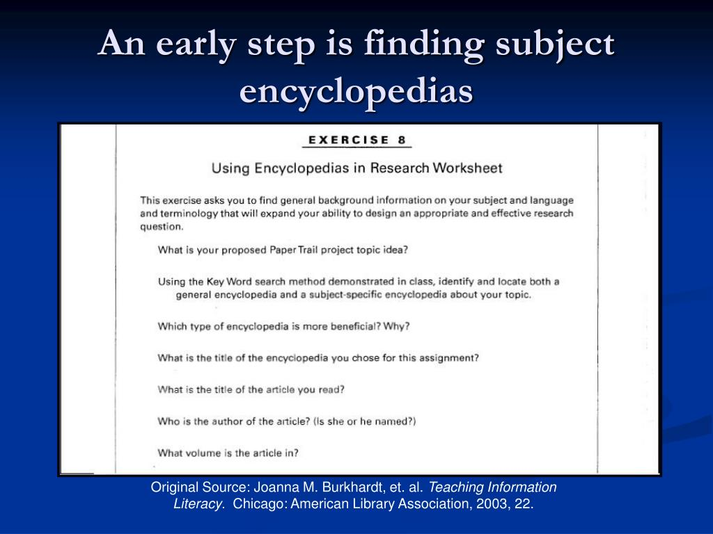 An early step is finding subject encyclopedias