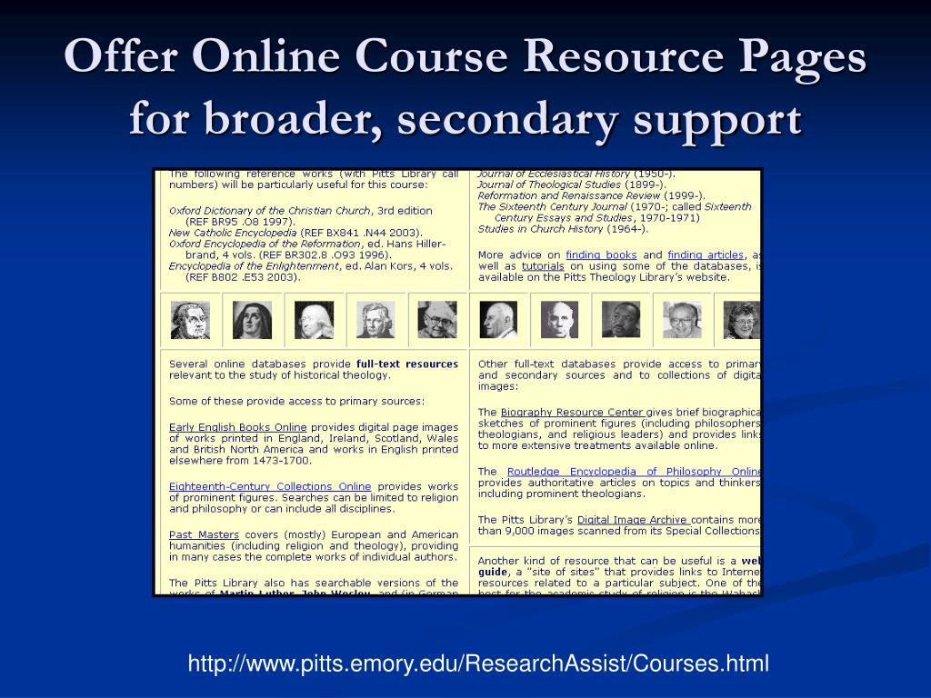 Offer Online Course Resource Pages for broader, secondary support
