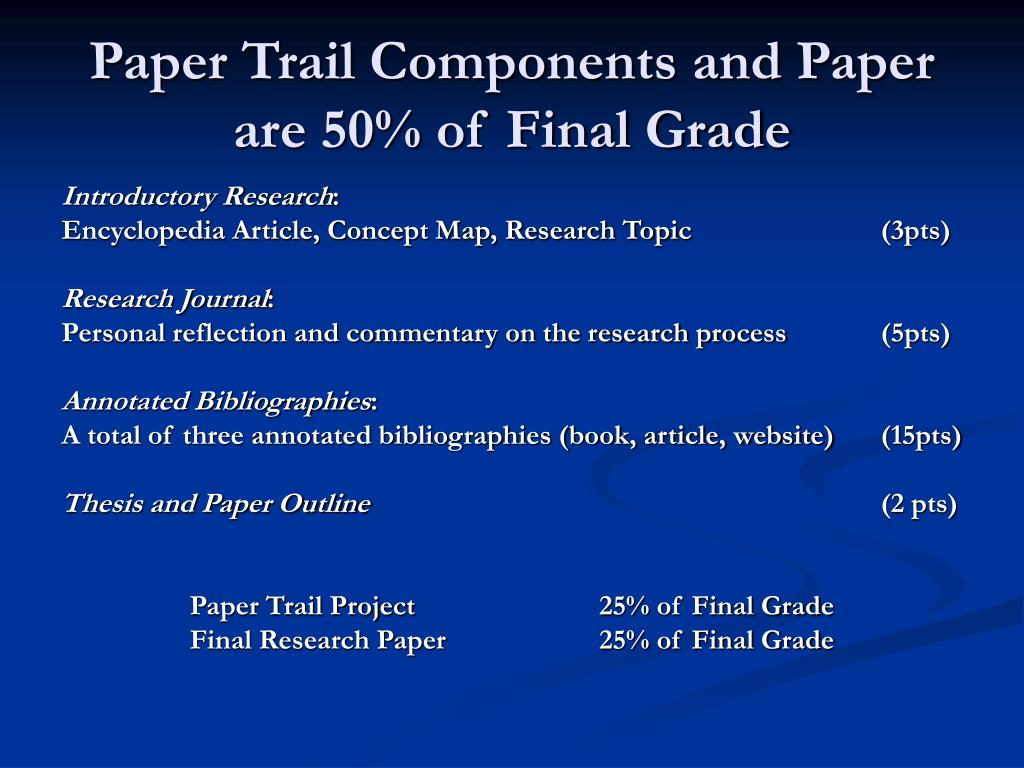 Paper Trail Components and Paper are 50% of Final Grade