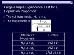 large sample significance test for a population proportion