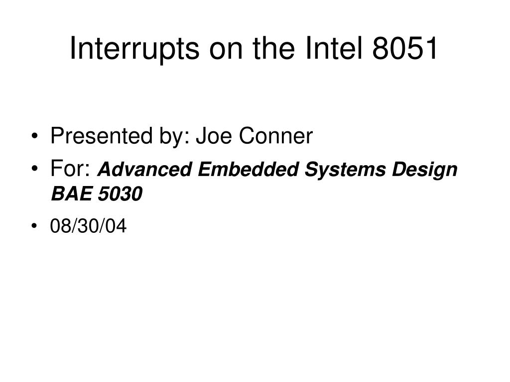 Interrupts on the Intel 8051