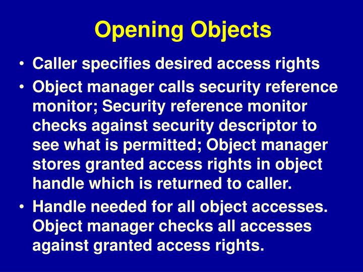 Opening Objects